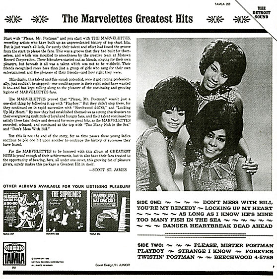 Marvelettes Greatest Hits back cover