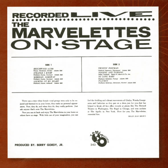 Marvelettes Live album back cover
