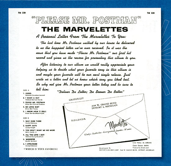 Marvelettes Postman back cover